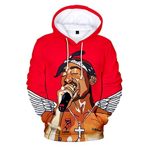 Herren 2PAC 3D Kapuzenpullover Hip Hop Long Sleeve Hoodie Sweatshirt Kapuzen Jacke Tops Trend XXS-4XL (6,XXS)