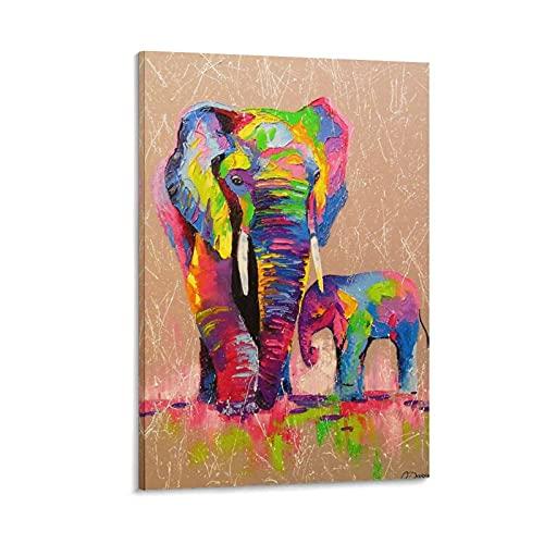 Hogar Poster und Wandkunstdruck, Elefanten, Mutter und Sohn auf Leinwand, modern, 60 x 90 cm