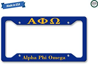 The Turnip Seed Co Alpha Phi Omega License Plate Frame LP1222 (Blue/Yellow)
