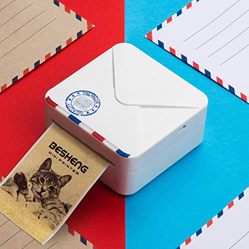 BESHENG M02S Pocket Printer, 300dpi Wireless Bluetooth Thermal Printer with USB Cable, Mini Portable Photo Picture Label Receipt Memo Sticker Printer Support for iOS Android Smartphone and Windows