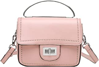 Fashion Simple and Versatile Compact Bills Shoulder Slung Leather Handbags (Color : Pink)