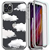 DecaStars for iPhone 11 Pro Max Case,with [2 x Tempered Glass Screen Protector] Clear Shockproof 360 Full Coverage Hard PC Soft Silicone TPU 3in1 Military Standard Protective Cover #9 Clear Clouds