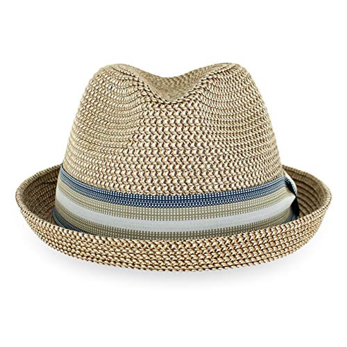 Belfry Men Women Straw Trilby Summer Fedora Hat in Blue, Tan, Black (Medium, BlakeTan)