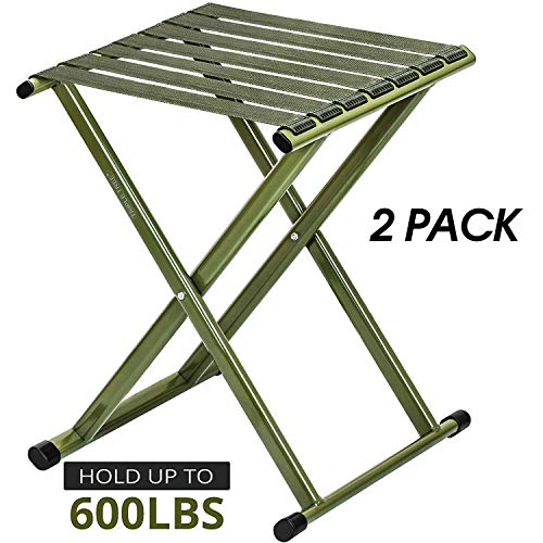 TRIPLE TREE Folding Stool 17.8 Height Two Packs, Super Strong Heavy Duty Outdoor Portable Folding Chair Hold up to 600 lbs, Unfold Size 13.9(L) x14.3(W) x17.8(H) Inch (Large)