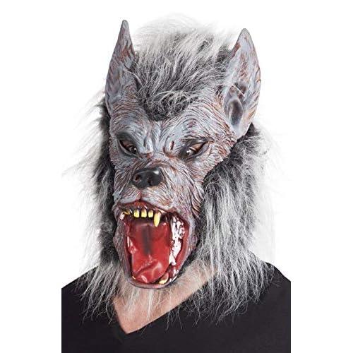 Boland- Maschera Lupo Mannaro Werewolf in Lattice con Pelo per Adulti, Grigio, Taglia Unica, 97515