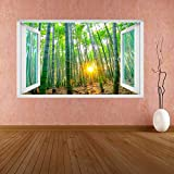 Adesivi Murali Bamboo Trees Sun Rays Wall Sticker Murale Decal Kids Room Home Office DB20