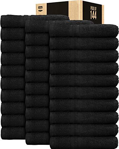 Utopia Towels Cotton Salon Towels Bleach Safe Black - (Bulk Pack of 144)