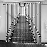 ATBDWOSZ® Verdunkelungsvorhang - 3D Digitaldruck Grauer Aufzug, Perforierte Vorhänge, Schattierung 90%, Wohnzimmer Küche Schlafzimmer Verdunkelungsvorhang, 220 X 215 cm (B X H) X 2 Panels/Set