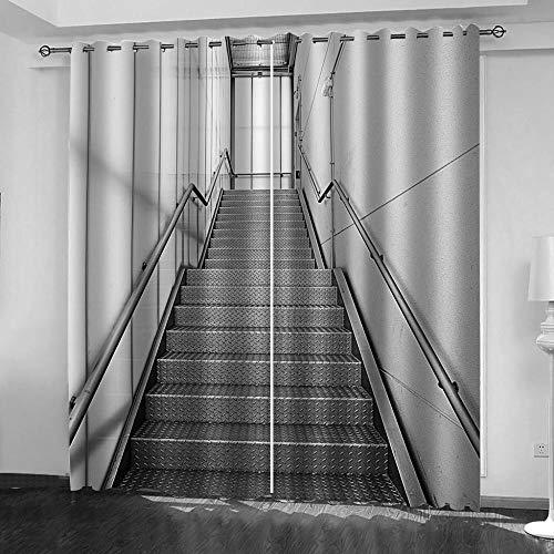 YTSDBB Cortinas Salon Modernas Impresión de Escalera de Metal Ancho 234 x Altura 230 cm Salón Dormitorio Opacas Proteccion Intimidad Aislantes Térmicas Cortinas Ventanas para 100% Poliester 2 Pieza