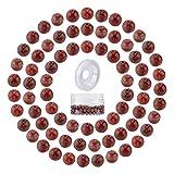 SUNNYCLUE 200 pièces 6 mm Perles de Jaspe Rouge Perles Semi-Précieuses Rondes Pierres Précieuses Lisses Perles D'Espacement Fil Élastique Contenants de Perles en Plastique pour Bracelet Collier