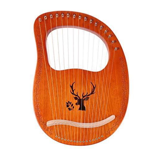 ULTNICE Leier Harfe 16-Saitige Leier Harfe Mahagoni Metall Saiteninstrument Bestes Geschenk für Kinder Erwachsene