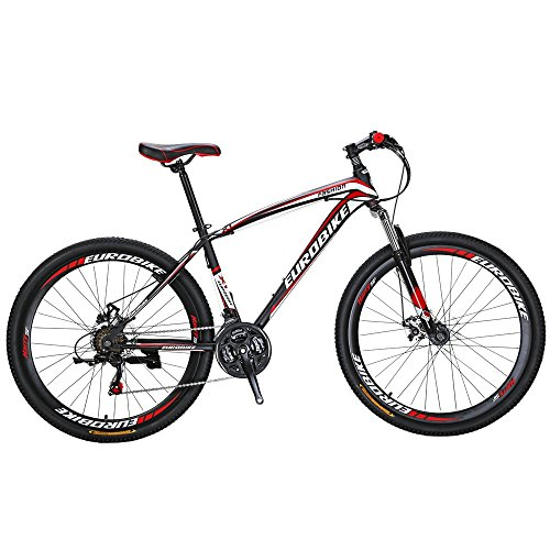 Eurobike Bikes HYX1 27.5 Inches Muti Spoke Wheels 21 Speed Mountain Bike Dual Disc Brake Bicycle BlackRed