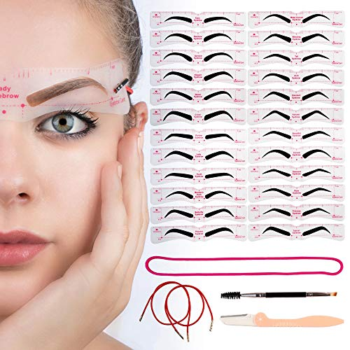 Eyebrow Stencil Reusable 24 Styles - Eyebrow Shaper Kit Template With Strap, 3 Minute Perfect Makeup Tool for Women, Eyebrows Stencils Kit for Beginners and Professionals
