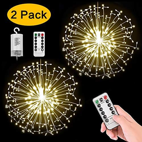 StillCool Feuerwerk Licht, 2 Stück 150 LED Hängend Lichterkette 8 Modi Wasserdicht Starburst Lichter mit Fernbedienung für Weihnachten Hochzeit Party Garten (Haken)
