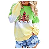 TWGONE Tie Dye Shirt Women Long Sleeve Contrast Color Christmas Printed Top Pullover Sweatshirt(Small,Za-Green)