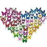 3D Adesivi Murali Farfalle, Diealles 72 Pcs Brillanti Farfalle 3D Adesivi per Pareti Vari Colori Decorazione Casa Stickers Murali, 6 Colori (Blu/Rosa/Rosso/Rosa Rossa/Giallo/Verde)