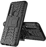 Yiakeng Handyhülle für Moto G8 Play Hülle, Moto One Macro Hülle, Doppelschicht Stoßfest Schlank Silikon 360 Grad Schutz Mit Ständer für Motorola Moto G8 Play (Schwarz)