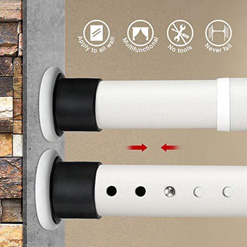 KINLO 160-310cm barra de cortina de ducha barra telescópica barra de cortina barra de ropa de acero inoxidable sin perforación barra de tensión de patrón beige