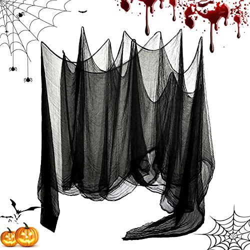 Huahuanghui Gruseliger Stoff Gruseliges Käsetuch,215 x 500 cm,Halloween Stoff,Halloween Dekoration Gruselig Vorhang,Gruselig Tuch Party Deko,Halloween Dekostoff Tuch,Halloween Gruselig Stoff