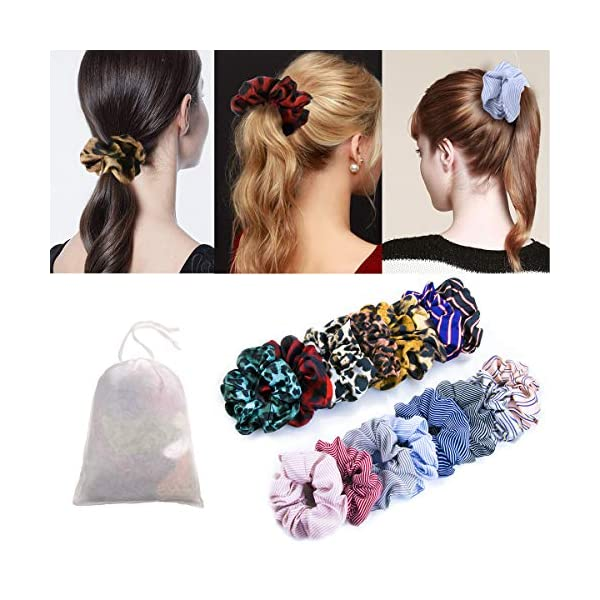 16 Pack Leopard Hair Scrunchies Scrunchies Elastic Rubber Band Hair Rope Bobbles Hair Ties 7