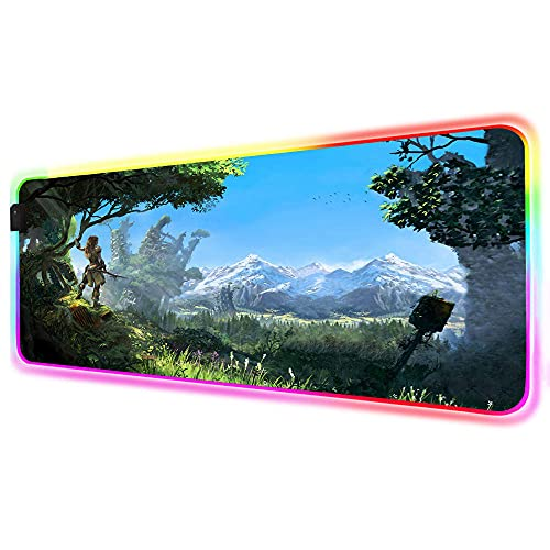 Alfombrilla de ratón Horizon Dawn Zero RGB, para decoración de jugador, alfombrilla de escritorio LED, brillante, anime, juego para PC, escritorio, portátil, 1000 x 500 mm