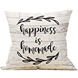 Mancheng-zi Happiness is Homemade Throw Pillow Case, Outdoor Porch Decor, Housewarming Gifts Family Room Decor, 18 x 18 Inch Farmhouse Decorative Linen Cushion Cover for Sofa Couch Bed