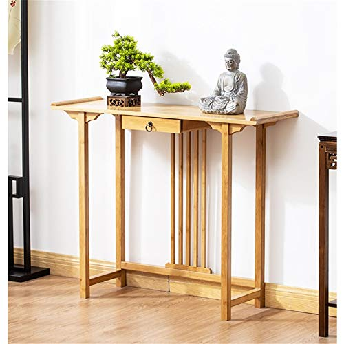 CuteLife Console Table New Chinese Porch Table Solid Wood Hotel Club End View Table Simple Long Table for Bedroom Entryway (Color : Yellow, Size : 100x31.5x80cm)