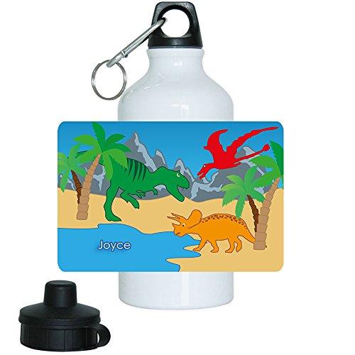 Trinkflasche mit Namen Joyce und schönem Dinosaurier-Motiv für Mädchen