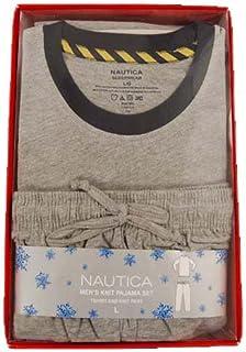نوتيكا ملابس نوم للرجال مجموعة معلبة ، سروال جيرسي محبوك سادة مع تي شيرت طويل الأكمام
