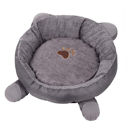 Queta Hundebett Waschbar, Katzenbett. Katzenohrform Runde Hundekorb Warmes Haustierbett Katzenbett, Katzenschlafmatte, Haustierbett zum Schlafen von Haustier.(grau)