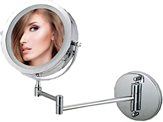 Shower Mirrors Magnifying Illuminated Wall Mounted Bathroom Mirrors 7-Inch 10x Magnifying Extending Double Side & 360° Swivel,Wall-Mounted Vanity Mirrors 5CD1