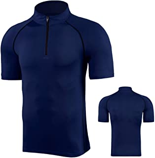 Men's Sports T-Shirts Running Base Layers Tops Quick-Drying Gym Compression Short Sleeve Fitness Top Shirts 1/4 Zip Stand-...