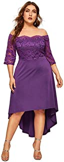 GMHO Women's Plus Size Floral Lace Off-The-Shoulder Cocktail Formal Swing Dress …