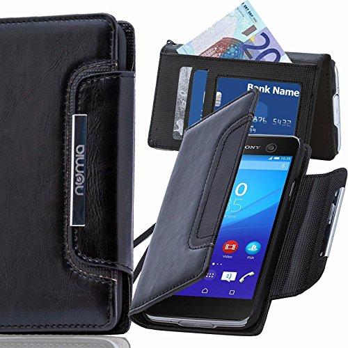 numia Sony Xperia Z3 Plus Hülle, Handyhülle Handy Schutzhülle [Book-Style Handytasche mit Standfunktion und Kartenfach] Pu Leder Tasche für Sony Xperia Z3+ E6553 Case Cover [Schwarz]