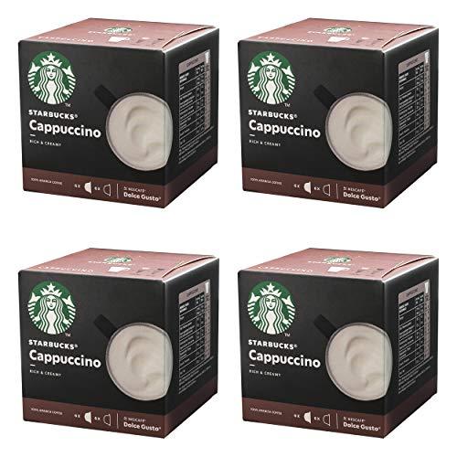 Nescafé Dolce Gusto Starbucks Cappuccino, 4er Set, Kaffeegetränk, Kaffee, Cremig, Kaffeekapsel, Röstkaffee, 4 x 12 Kapseln
