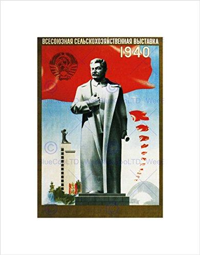 Wee Blue Coo Landwirtschaft Sowjetunion Stalin rote Flagge Statue Onkel Joe Russland Wandkunstdruck