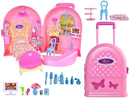 ISO TRADE Faltbar Tragbare Puppenaus -Puppenhaus mit 2 Zimmer und viel Zubehör im Koffer Rosa Spielzeug ab 3 Jahren 8675