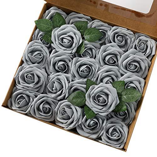 Msrlassn Künstliche Rosen Blumen Schaumrosen Foamrosen Kunstblumen Rosenköpfe Gefälschte Kunstrose Rose DIY Hochzeit Blumensträuße Braut Zuhause Dekoration (Grau, 25 Stück)
