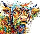 Vaca de montaña coloreadaDIY Digital Lienzo Pintura-Lienzo preimpreso-Pintura por Número de Kits Aceite Digital Pintura Pinturas Regalos_40x50cm