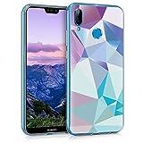 kwmobile Hülle kompatibel mit Huawei P20 Lite - Hülle Handy - Handyhülle Dreiecke Asymmetrie Hellblau Rosa Blau