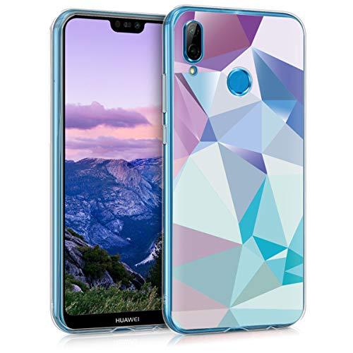 kwmobile Cover Compatibile con Huawei P20 Lite - Back Case Custodia in Silicone TPU Trasparente Geometrie Blu Chiaro/Rosa/Blu