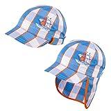 Galeja TuTu by Jungen Schirmmütze mit Nackenschutz Blau Gr. 44/46 UV-Schutz 30+ Sommermütze Kindermütze