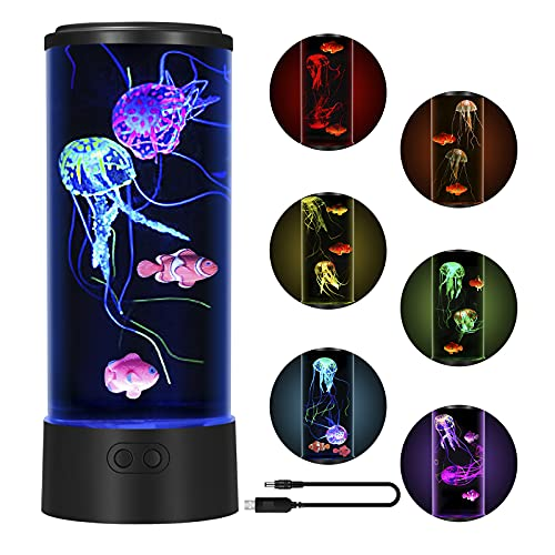 Jellyfish Lava Lamp LED 7 Color Changing, Night Light Jellyfish Aquarium with 2 Jelly Fish 2 Clown Fish, Electric Jellyfish Mood Light Decoration for Home Office Gift for Men Women Kids