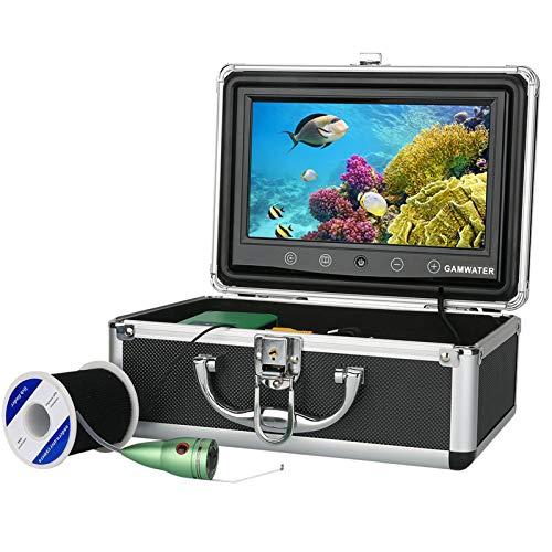 HWMYA Kit de la cámara de Video de la Pesca subacuática de 1000tvl 6 PCS Luces de lámpara infrarroja con Monitor de Color de 9 Pulgadas,30M