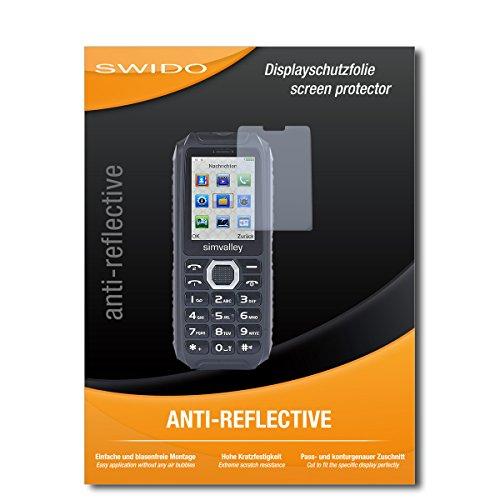 SWIDO Schutzfolie für Simvalley Mobile XT-690 [2 Stück] Anti-Reflex MATT Entspiegelnd, Hoher Festigkeitgrad, Schutz vor Kratzer/Bildschirmschutz, Bildschirmschutzfolie, Panzerglas-Folie