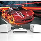 FORWALL Fototapete Tapete Rotes Auto im Feuer P4 (254cm. x 184cm.) AMF132P4 Wandtapete Design Tapete