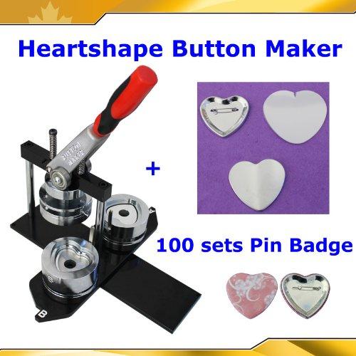Badge Button Maker Kit! Heart Shape Machine+100 Pinback Supplies 2-1/4' 57mm