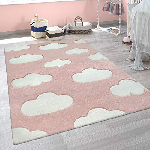 Alfombra Infantil Adorable Colores Pastel Motivo Nubes Pelo Corto En Rosa Blanco, tamaño:80x150 cm