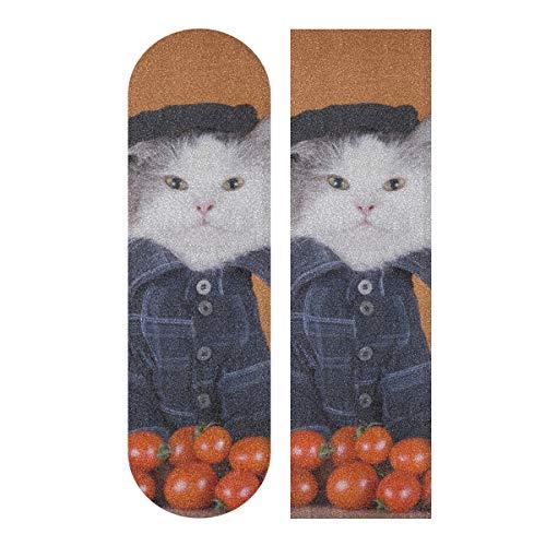 LMFshop 33,1x9,1 Zoll Sport Outdoor Longboard Aufkleber lustige Katze mit Tomate Print wasserdicht Skateboard Griptape für Tanzbrett Double Rocker Board Deck 1 Blatt