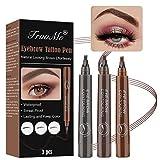 EyebrowPencil, LiquidEyebrowTattoo, LapizCejas, Coloración de Cejas de 3 Colores Con Puntas Impermeable de Larga Duración Para Maquillaje Natural de Cejas